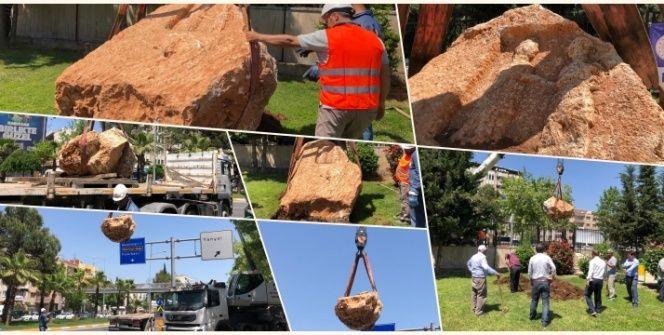 Adıyamanda bulunan 10 tonluk Roma Kaya Anıtı müzeye böyle taşındı