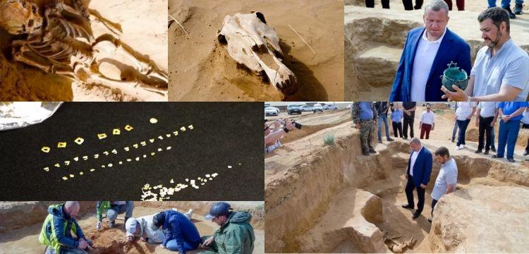 Rusya'da içinde 3 iskelet ve bir at kafası olan kurgan bulundu