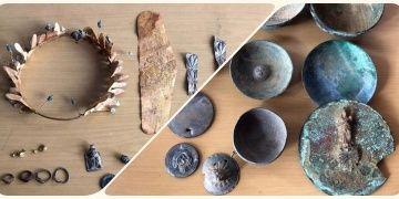 Antalyada altın diadem, küpe, takılar ile gümüş ve bronz kaplar yakalandı