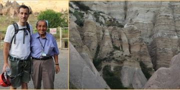 Turisti kurtarmaya çalışan müze görevlisi de kayalıklarda mahsur kaldı