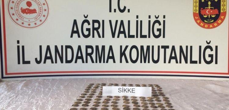 Ağrı'da Roma dönemine ait görünen 150 sikke yakalandı