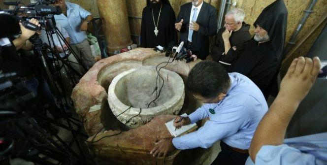 Beytüllahimdeki Nativity Kilisesinde 1500 yıllık vaftiz taşı bulundu