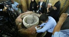 Hazreti İsanın doğduğuna inanılan kilisede vaftiz taşı bulundu