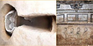 Çinde 700 yıllık renkli duvar resimleri bulunan oda mezar keşfedildi