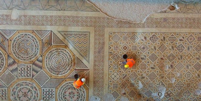 İşte Hatayda onarılan dünyanın en büyük tek parça taban mozaiği