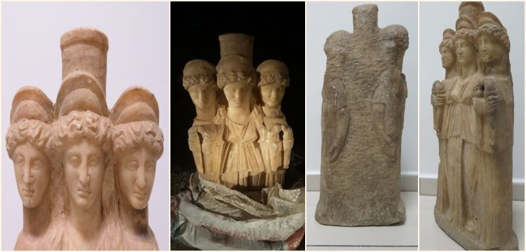 Denizli'de yurt dışına kaçılmak istenen Hekate heykeli yakalandı