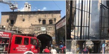 Kayserinin ünlü kapalı çarşısındaki tarihi Vezir Hanında yangın çıktı