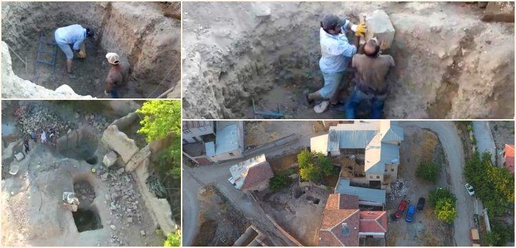 Elazığ'da köy evi avlusunda kazı yapan definecileri drone yakaladı