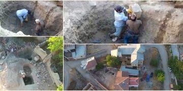 Elazığda köy evi avlusunda kazı yapan definecileri drone yakaladı