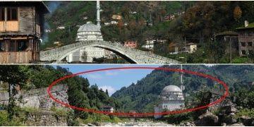 Rizede geçen yıl restore edilen tarihi köprü çöktü
