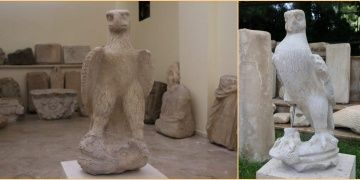 Two thousand years old marble eagle statues found in Hellenistic temple