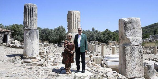 Cumhurbaşkanı Erdoğan Stratonikeia Antik Kentini ziyaret etti