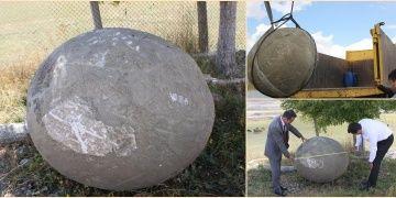 Erzurumda yol inşaatında 2 tonluk mancınık gülleleri bulundu
