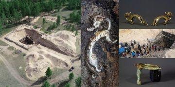Moğolistandaki ilginç Hun mezarından gümüş ejderhalar çıktı