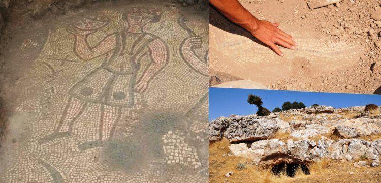 Mardin'de definecilerin kazdığı alanda 1500 yıllık mozaik bulundu