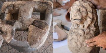 Assosta 1500 yıllık 3 gözlü ocak ve 2200 yıllık aslan heykeli bulundu