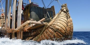 Ancient Ship made of reeds to reach Turkeys Mediterranean coast
