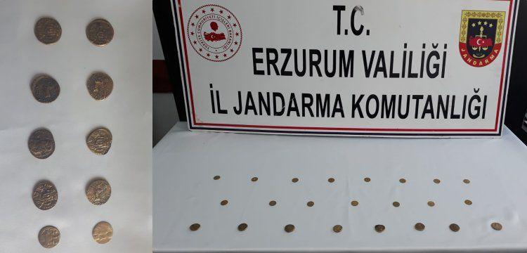 Erzurum'da Bizans dönemine ait görünen 23 altın sikke yakalandı