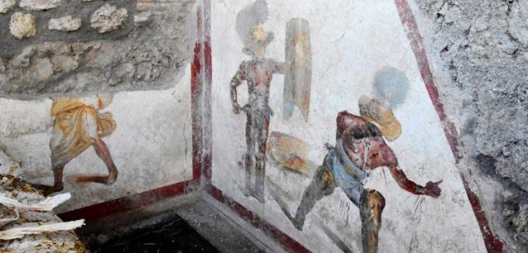 Pompeii'de bir meyhane duvarında renkli gladyatör freski keşfedildi