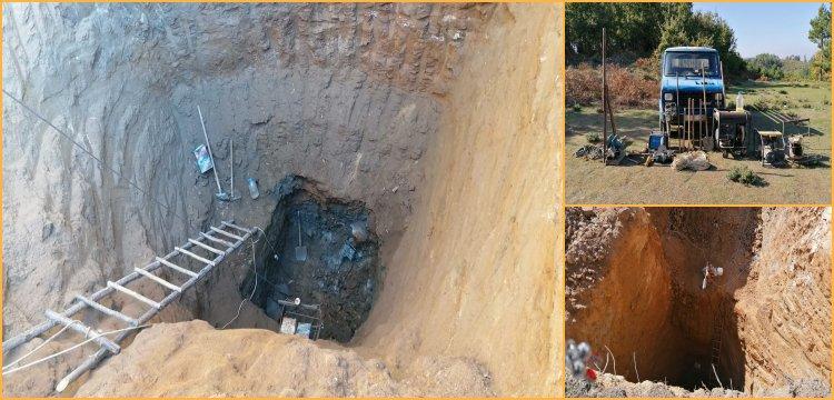Bayramiç'te 200 metrekareye 40 metrelik çukur kazan 5 defineci yakalandı