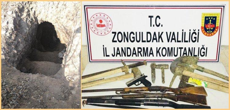 Ereğli'de kaçak kazı yapan 3 defineci yakalandı