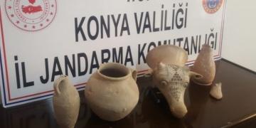 Konyanın Ereğli ilçesinde kaçak tarihi eser operasyonu