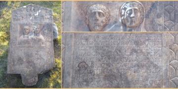Kütahyalı çiftçi tarlasında Roma devri mezar steli buldu