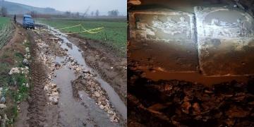 Bandırmada şiddetli yağış tarihi eserleri toprak üstüne çıkarttı