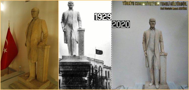 Atatürk'ün beden ölçülerindeki ilk heykeli restore edildi