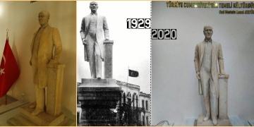 Atatürkün beden ölçülerindeki ilk heykeli restore edildi