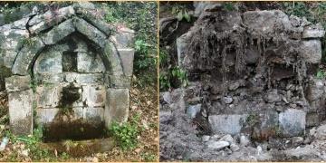 Trabzonda tarihi çeşme yerinden sökülerek çalındı