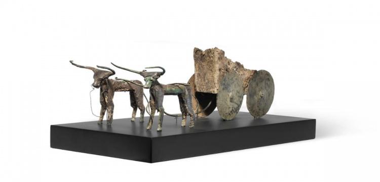 Ox-driven cart sculpture and a three-piece Sidamara sarcophagus return to Turkey