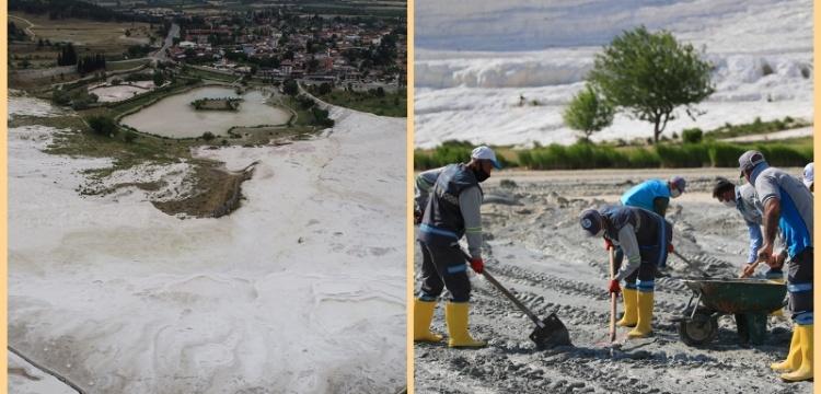 Pamukkale'nin Kocaçukur'u temizleniyor