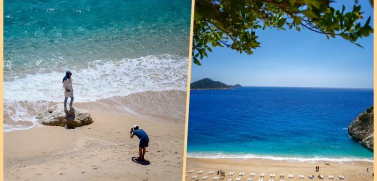 Kaputaş Plajı'nda şezlonglar sosyal mesafeye göre konumlandı