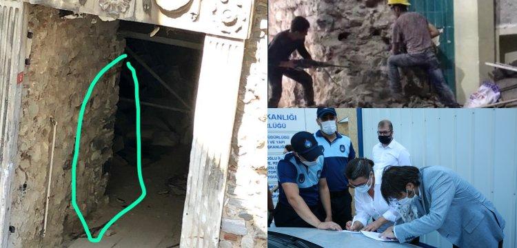 Galata Kulesinde yıkılan duvar yeniden örüldü!