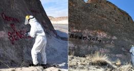 Kayseri peri bacalarındaki duvar yazıları temizleniyor