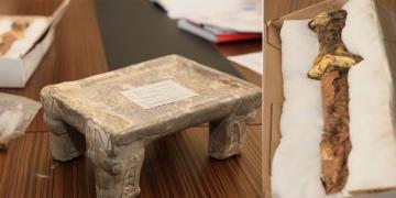 Kazakistanda erken Demir Çağına ait taş sunak ve altın tören kılıcı bulundu