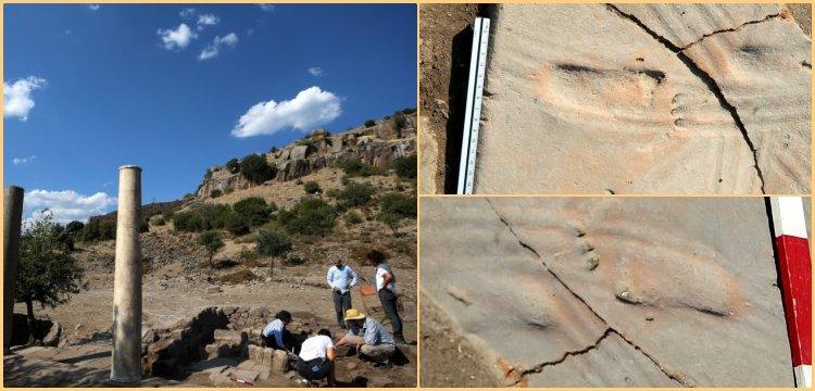 Assos Antik Kenti'nde 1300 yıllık bebek ayak izleri bulundu