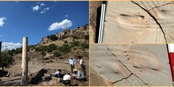 Assos Antik Kentinde 1300 yıllık bebek ayak izleri bulundu