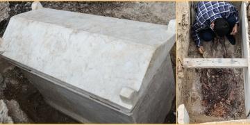 Kazlıçeşmede 1600 önce bir lahite yanyana gömülmüş çift bulundu
